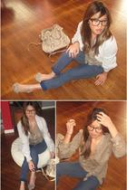 vintage glasses - kensie sweater - Zara shirt - Play by CRonson jeans - Steve Ma