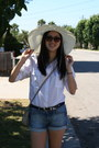 White-shirt-off-white-sunhat-hat-blue-denim-cuffed-gap-shorts