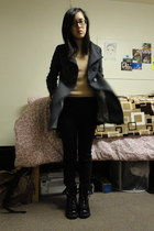 black Kmart boots - charcoal gray from china coat - nude sweater - black pants