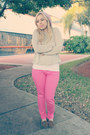 Bubble-gum-old-navy-jeans-light-pink-forever-21-hat-neutral-sweater
