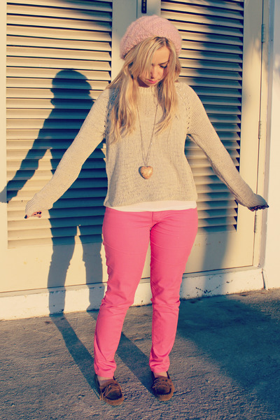 bubble gum Old Navy jeans - light pink Forever 21 hat - neutral sweater