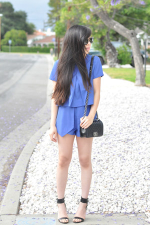 blue two-piece Pixie Market suit - black Chanel bag