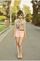 beige Chanel bag - light pink asos shorts - white Chanel sunglasses