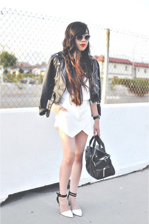 white Zara heels - black Nasty Gal jacket