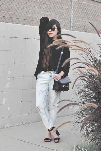black Zara sandals - light blue Zara Boyfriend jeans