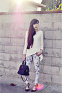 White-zara-sweater-black-zara-pumps