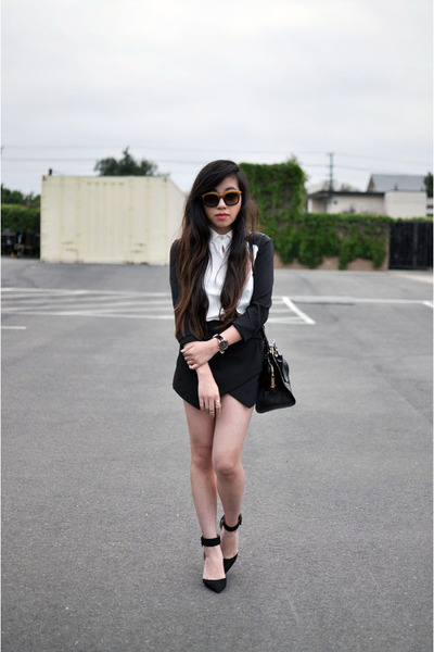 black Zara shoes - brown coach sunglasses - black skort Zara skirt