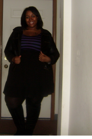deb jacket - H&M top - Old Navy skirt - torrid boots - torrid tights