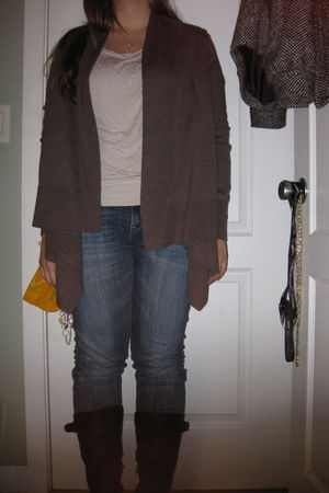 brown H&M sweater - beige H&M shirt - Joes Jeans jeans - black Aldo boots