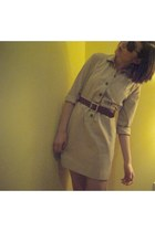 brown Knockaround sunglasses - beige JCrew dress - brown JCrew belt
