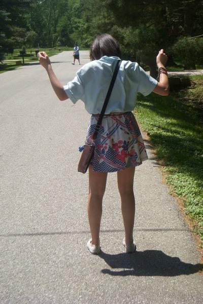 beige Keds shoes - brown coach bag - light blue thrifted vintage blouse - off wh