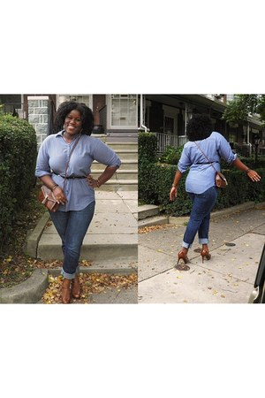 blue Old Navy jeans - light blue H&M shirt - tawny H&M bag - tawny Guess heels