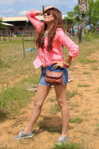 blue Forever 21 shorts - heather gray Vans shoes - light brown Aldo purse