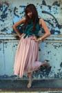 Light-pink-forever-21-skirt-teal-papaya-top-tan-forever-21-heels