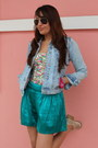Light-blue-zara-jacket-turquoise-blue-express-shorts-white-zara-top