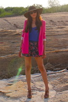hot pink Zara blazer - light brown madewell hat