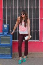 turquoise blue Aldo shoes - gold Aldo purse - light pink Zara t-shirt