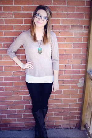 beige Forever 21 sweater - black Spring boots
