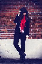 black Aldo boots - red gift scarf