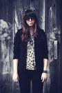 Black-aldo-boots-beige-leopard-print-thrifted-blouse