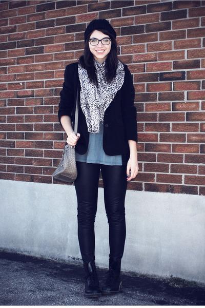 black leather H&M pants - teal thrift shirt - camel Spring scarf