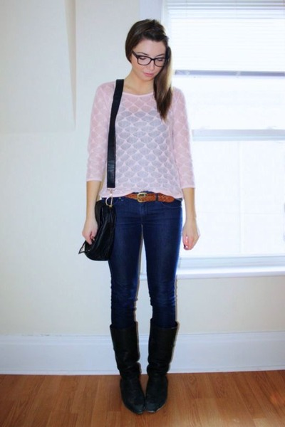 light pink thrift sweater - navy thrift jeans