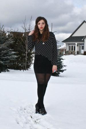 black thrifted shirt - black H&M skirt