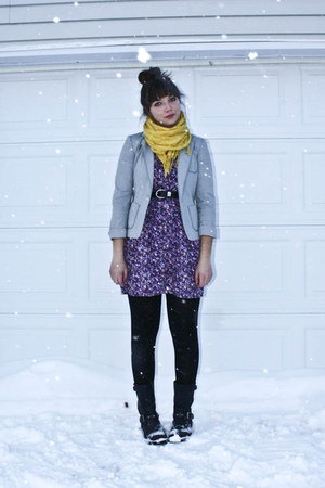 black Aldo boots - amethyst thrifted dress - silver thrifted blazer
