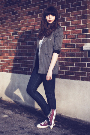 navy thrifted jeans - heather gray thrifted blazer - amethyst Converse sneakers
