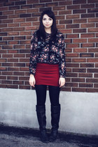 ruby red Stiches skirt - black borrowed shirt