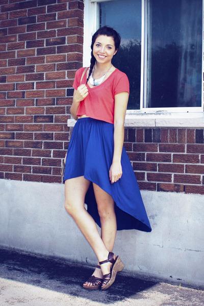 blue Forever 21 skirt - coral Forever 21 shirt