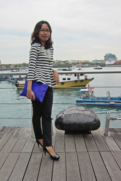 navy peplum stripes Zara blazer - blue clutch asos bag
