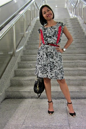 white Mango dress - navy H&M blazer - black coach bag - black Casteller wedges