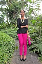 hot pink clutch Zara bag - hot pink Zara pants - black peplum Mango top