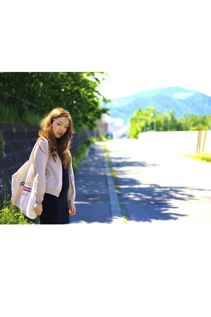 American Apparel dress - canvas 7 bag - vintage 3 cardigan - onitsuka tiger snea