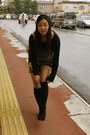 Denim-shorts-wego-shorts-black-suede-office-boots-h-m-sweater