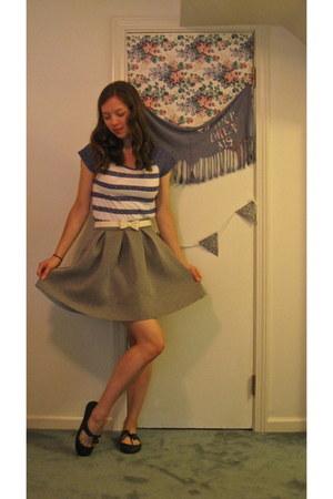 heather gray francescas skirt - white bow francescas belt