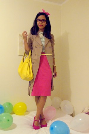 pencil skirt hot pink skirt