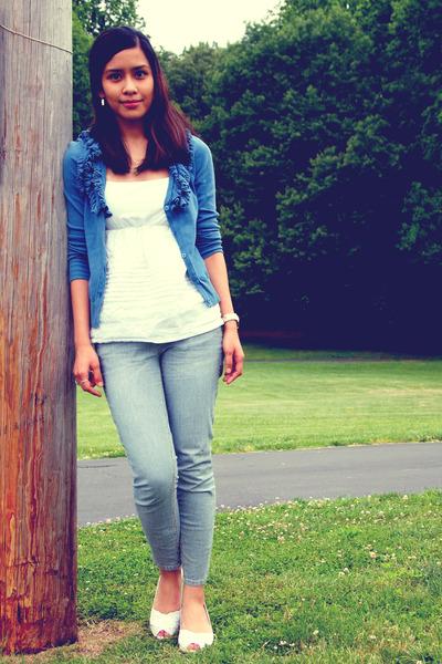white Ralph Lauren wedges - sky blue pinstripe H&M jeans