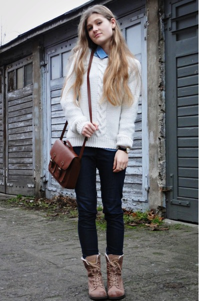 sky blue H&M shirt - tan Lasocki boots - navy KappAhl jeans - dark brown H&M bag