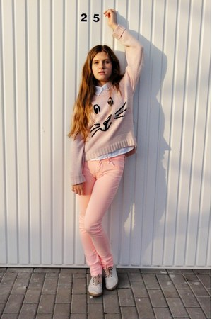 light pink new look jumper - white H&M shirt - peach H&M pants