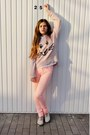 White-h-m-shirt-peach-h-m-pants-light-pink-new-look-jumper