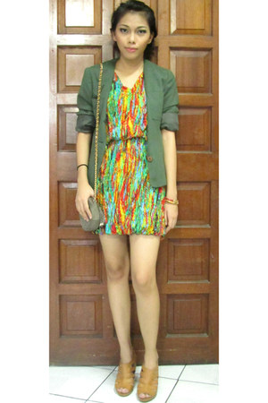 random from Hong Kong dress - forest green Mastina blazer