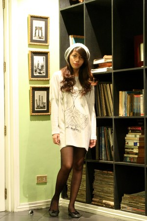 silver H&M dress - silver random brand hat - black Darlington stockings