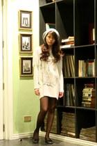 silver H&M dress - silver random brand hat - black Darlington stockings