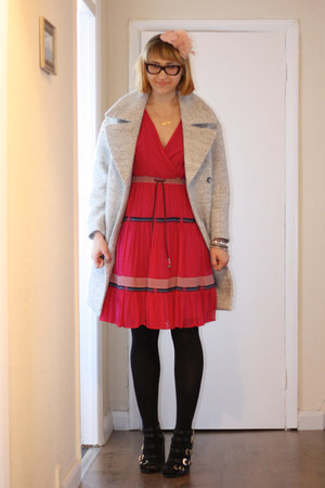 black Aldo shoes - hot pink French Connection dress - silver H&M coat