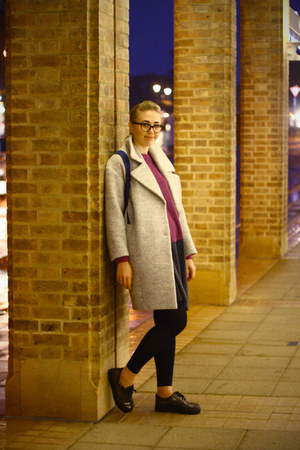 periwinkle H&M coat - dark gray River Island shoes - magenta COS dress