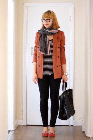 burnt orange Zara jacket - black Vila jeans - charcoal gray Zara scarf