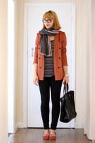 burnt orange Zara jacket - black Vila jeans - charcoal gray Zara scarf