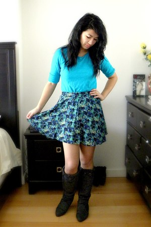 navy Forever 21 skirt - charcoal gray Sirens boots - turquoise blue Roxy top